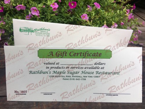 Rathbun's Maple Sugar House Restaurant Gift Certificate